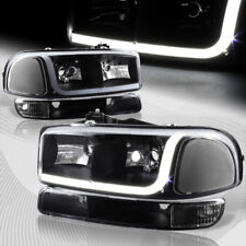 For 1999-2006 GMC Sierra 1500 2500 DRL LED Black Clear Headlights+Bumper 4PCS