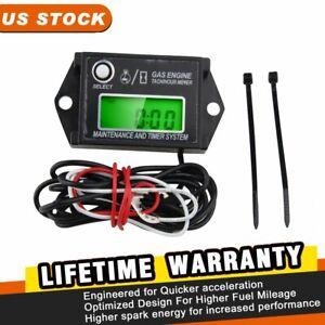 Top Waterproof Tiny Tach Digital Hour Meter Tachometer Resettable Job Timer US