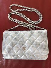 100% Auténtico Cartera de Chanel en la Bolsa de plata cadena woc Bandolera perforado