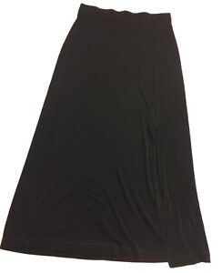 Travelers by Chico Sz.1 Ankle Length Black Stretch Side Slit Skirt Career/Casual