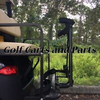 GOLF CART GOLF BAG ATTACHMENT W/ GRAB BAR COMBO FOR CARTS WITH REAR SEATS