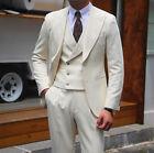 Men Beige Formal Wedding Bridegroom Suits Peak Lapel Double-breasted Vest Tuxedo