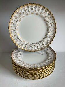 """13pc Lot FLEUR DE LYS Gold SPODE Bone China DINNER PLATES Gold Trim 10 3/4"""" MINT"""