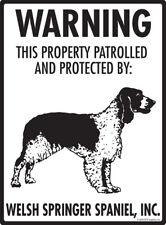 "Warning! Welsh Springer Spaniel - Property Protected Aluminum Dog Sign- 9"" x 12"""