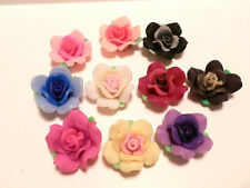 30 Fimo Polymer Clay Black Pink Purple Black Brown White Flower Rose Fimo Beads