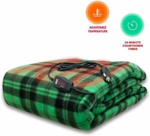 Zento Deals Green Plaid Electric Heated Car 12V Blanket- Polar Fleece Material