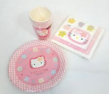 RARE Vintage 1996 Sanrio HELLO KITTY Pink Paper PARTY Plates, Cups Napkins NEW