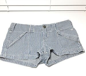 Grane Blue White Pinstriped Mini Jean Shorts Size 9
