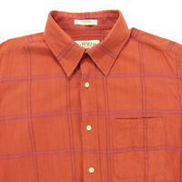 ORVIS Large Short Sleeve Button Down Shirt Red Plaid 100% Cotton