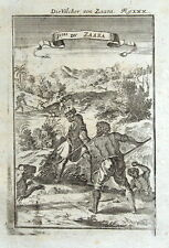 AFRICA, SAHARA, LION HUNTING Mallet original antique print 1719