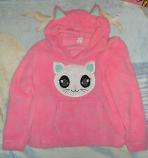 Women's Fuzzy Cute Cat Sweater Pink Hoodie With Ears Medium New