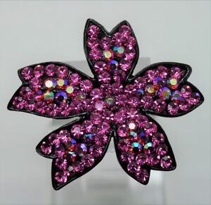 SIMPLY UNIQUE LEAVES SHAPE PINK / PINK AB FASHION BROOCH /PIN #1