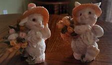 Adorable Vintage Garden Spring Bunnies Rabbits Easter Figurines Ceramic Euc