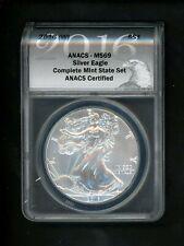 2009 SILVER EAGLE DOLLAR 1OZ .999 SILVER ANACS MS-69 PERFECT IN CHERRY WOOD BOX