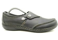 Clarks Black Leather Dress Casual Slip On Loafers Shoes Women's 11 N