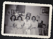Vintage Antique Photograph Women All Dressed Up Sitting in Retro Living Room