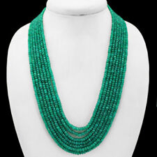 BREATHTAKING QUALITY 754.00 CTS NATURAL 7 STRAND GREEN EMERALD BEADS NECKLACE