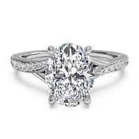 1.25 Ct VVS1 Oval Cut Diamond Rings 14K Solid White Gold Engagement Ring Size P