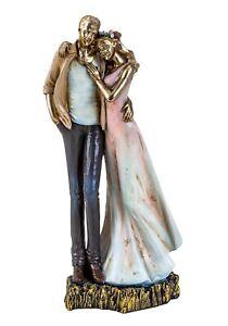 Moderne Skulptur Deko Figur Liebespaar auf Sockel mehrfarbig Höhe 27 cm