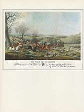 """1974 Vintage Currier /& Ives HUNTING /""""ON A POINT/"""" HOUNDS DOGS COLOR Lithograph"""