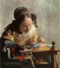 Die Spitzenklöpplerin Vermeer Handarbeit Klöppeln Liebe Detail Bütten H A3 0287