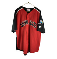 Vintage 90s Starter Mens 2XL Tampa Bay Devil Rays Stitched Baseball Jersey Red