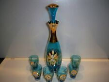 BLUE EUROPEAN ITALIAN DECANTER AND GLASSES SET DECANTER, STOPPER AND 6 GLASSES