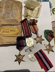 5 WW11 War Medal With Package. Ribbons