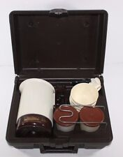 Vintage Travelmate Car Travel Coffee Maker with Case, cups spoons Car Adapter