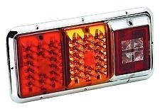 Bargman 47-85-004 - Rectangular LED Red/Amber Tail Light w Chrome Base