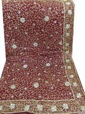 Om Vintage Dupatta Bridal Chiffon Zardozi Work Maroon Scarves Veil Hijab W2216