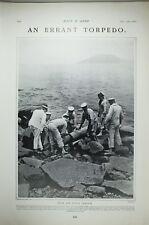 1903 Estampado Whitehead Torpedo De China Estación Striking Rocks