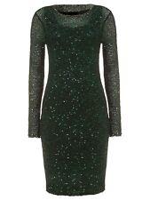 New Phase Eight Womens Green Black Juana Sequin Overlay Bodycon Dress Size 14