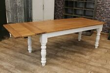 6FT COUNTRY FARMHOUSE EXTENDING TABLE WITH AN OAK TOP AND PAINTED BASE