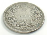 1902 H Canada Twenty Five 25 Cents Quarter Circulated Edward VII Coin J753