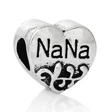Heart Silver Charm NaNa Lage hole bead Fit European Charm Bracelet C195