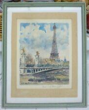 Vintage Paris Watercolour Painting Eiffel Tower Picture Signed P.E. Cambier