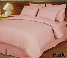 200 GSM Down Alternative Comforter Egyptian Cotton Striped Pink Cal King Size
