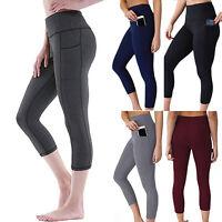 Women Capri YOGA Pants Pockets Cropped Workout Running Sports Fitness Leggings