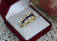 Vintage Jewellery Gold Ring With Blue White Sapphires Antique Deco Jewelry  8 P