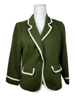 ModCloth Womens Suit Jacket Green White Piping Flap Pockets Stretch Blazer L