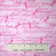 Breast Cancer Awareness Fabric - Pink Ribbon Word Pink - Timeless Treasures YARD