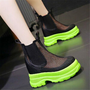 Punk Creepers Women Platform Wedge High Heel Summer Ankle Boots Sandals Casual