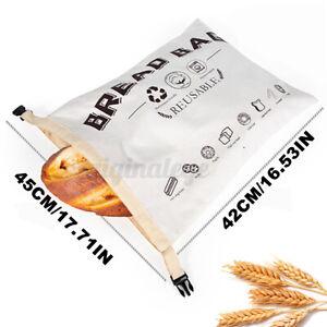 45x42 cm Large Bread Bag Organic Cotton TPU Recycled Food Fruit Storage Bag