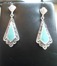 DAZZLING MARCASITE & green TURQUOISE drop dangle earrings Silver 925 Studs