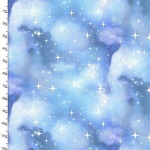 3 Wishes Fabric - Magical Galaxy Blue & Purple Star Sky With Glitter YARD
