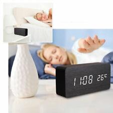 Orologio Sveglia Digitale Legno Display Led Temperatura Allarme Cubo Tavolo Linq