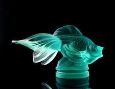 Glamorous Art Deco Cyan Glass ' Fish ' Figurine H.Hoffmann