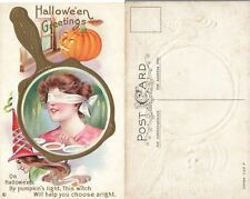 ANTIQUE EMBOSSED HALLOWEEN POSTCARD w/ JACK-O-LANTERN & WITCH