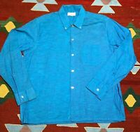 Vintage 50s 60 Flecked Shirt Longsleeve Button down Electric Blue Atomic Large